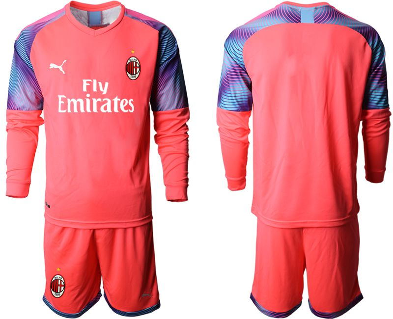 Men 2019-2020 club AC milan pink goalkeeper long sleeve Soccer Jerseys