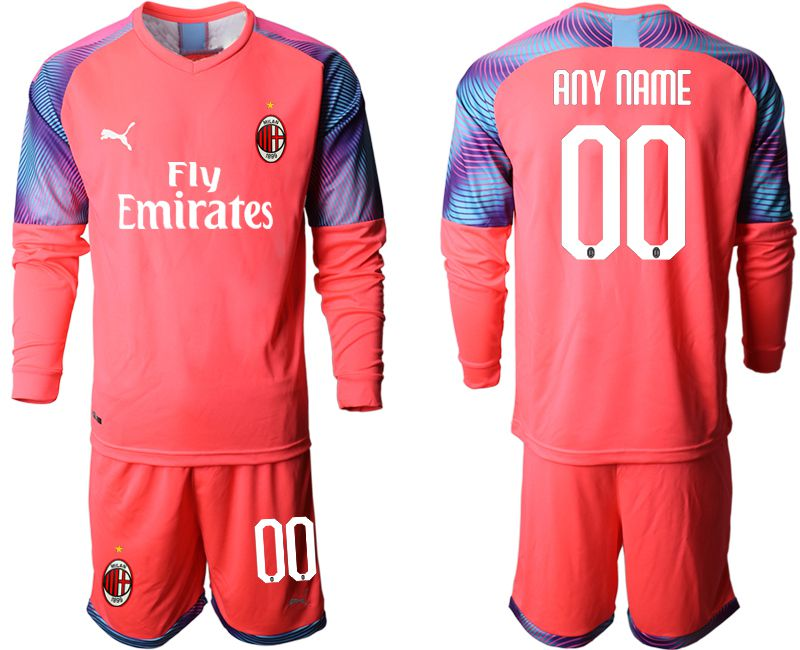 Men 2019-2020 club AC milan pink goalkeeper long sleeve customized Soccer Jerseys