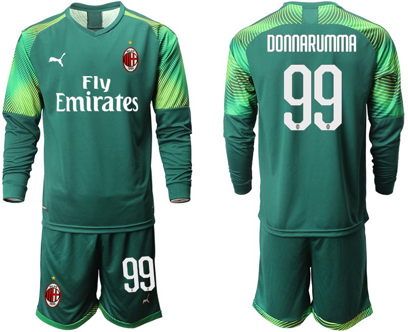 Men 2019-2020 club ACmilan Dark green long sleeve goalkeeper 99 Soccer Jerseys