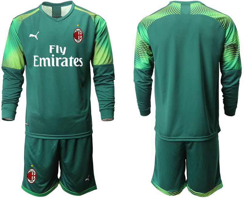Men 2019-2020 club ACmilan Dark green long sleeve goalkeeper Soccer Jerseys