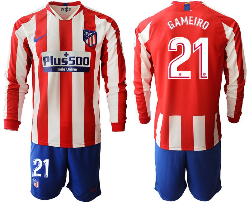 Men 2019-2020 club Atletico Madrid home long sleeves 21 red Soccer Jerseys