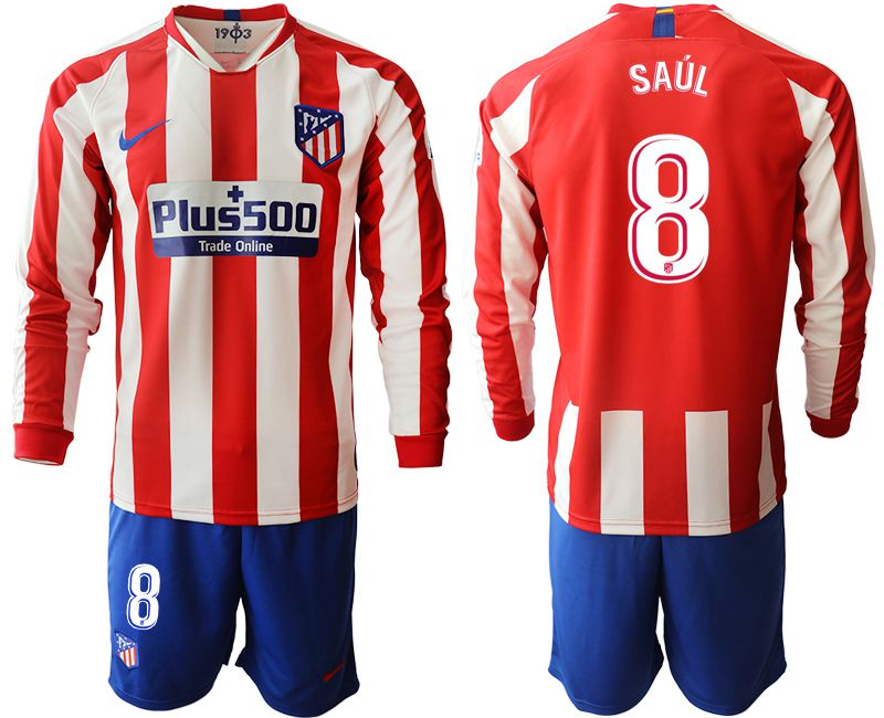 Men 2019-2020 club Atletico Madrid home long sleeves 8 red Soccer Jerseys