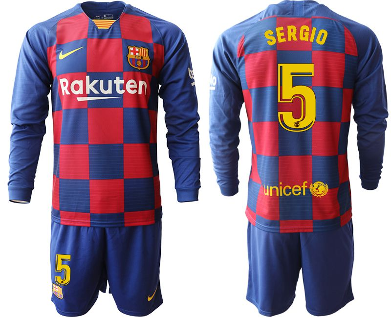 Men 2019-2020 club Barcelona home long sleeve 5 blue Soccer Jerseys
