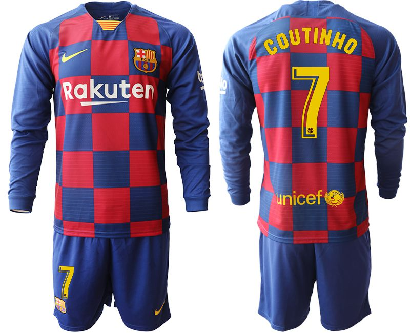 Men 2019-2020 club Barcelona home long sleeve 7 blue Soccer Jerseys