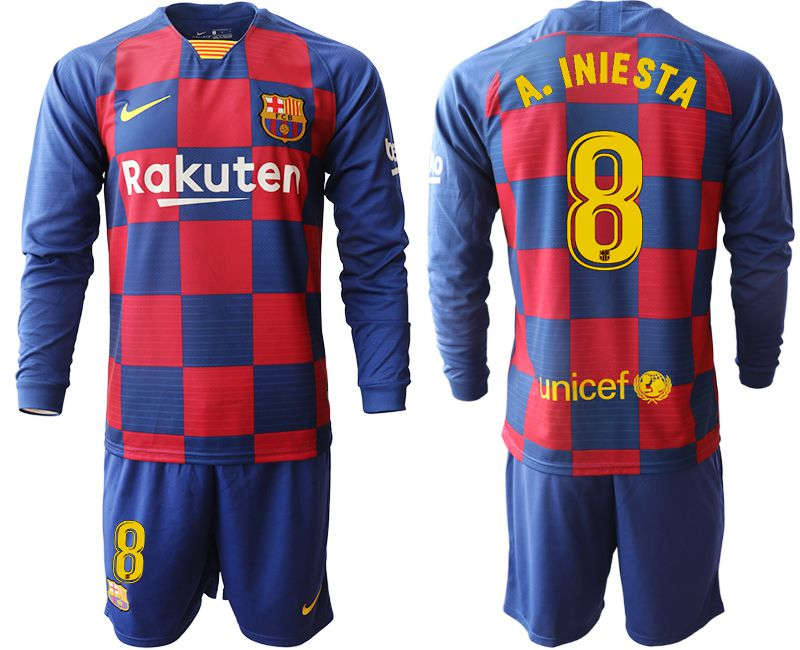 Men 2019-2020 club Barcelona home long sleeve 8 blue Soccer Jerseys