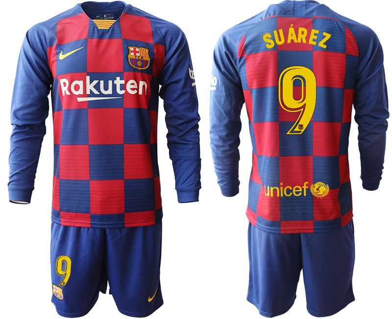 Men 2019-2020 club Barcelona home long sleeve 9 blue Soccer Jerseys