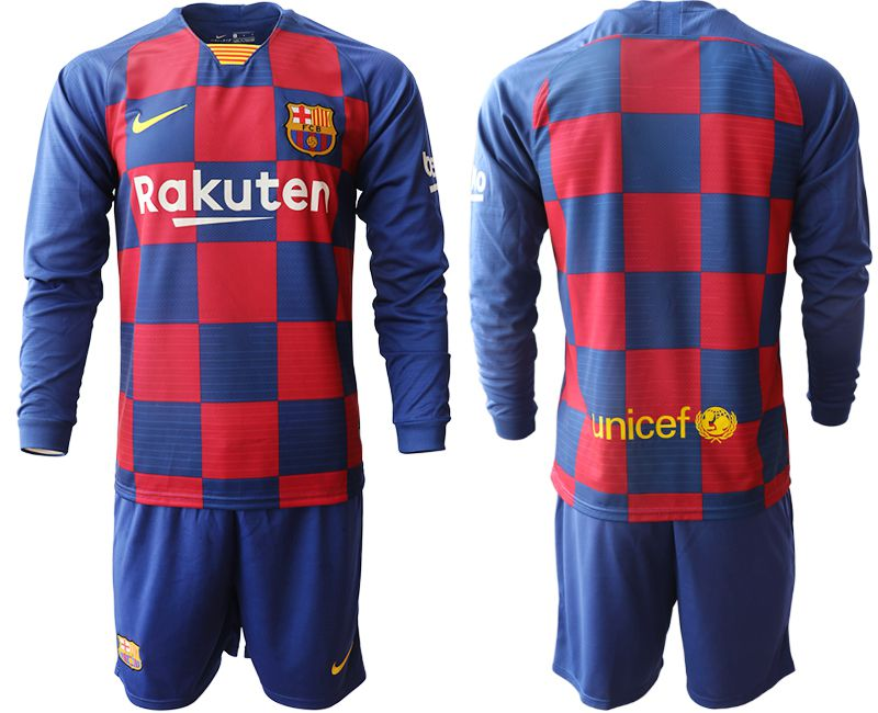 Men 2019-2020 club Barcelona home long sleeve blue Soccer Jerseys