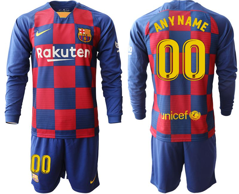 Men 2019-2020 club Barcelona home long sleeve customized blue Soccer Jerseys