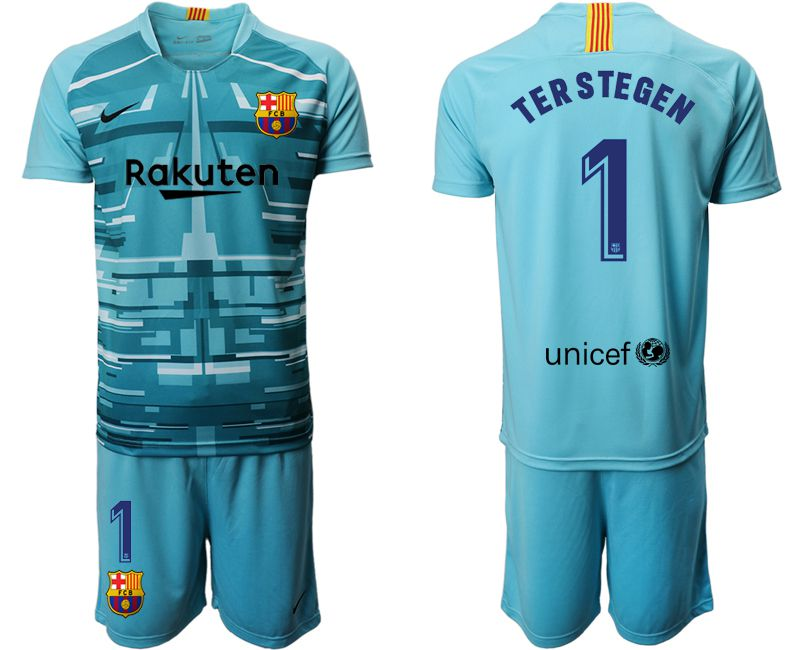 Men 2019-2020 club Barcelona lake blue goalkeeper 1 Soccer Jerseys