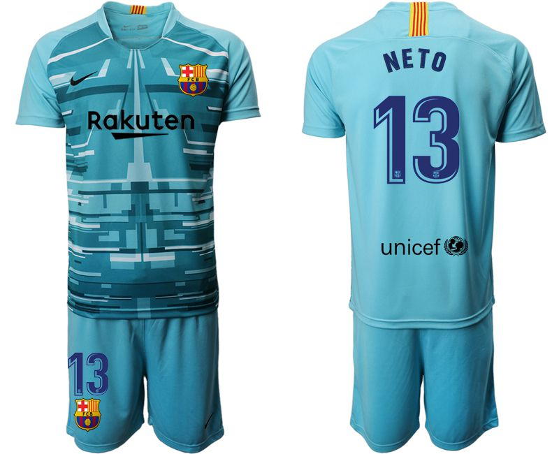 Men 2019-2020 club Barcelona lake blue goalkeeper 13 Soccer Jerseys