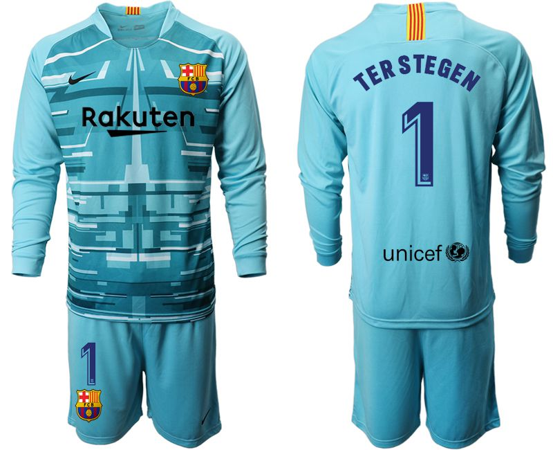 Men 2019-2020 club Barcelona lake blue long sleeve goalkeeper 1 Soccer Jerseys