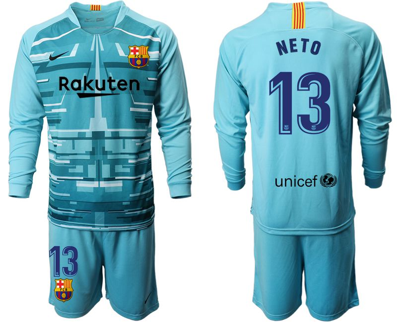 Men 2019-2020 club Barcelona lake blue long sleeve goalkeeper 13 Soccer Jerseys