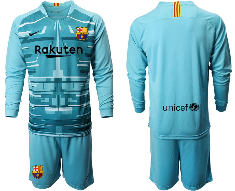 Men 2019-2020 club Barcelona lake blue long sleeve goalkeeper Soccer Jerseys