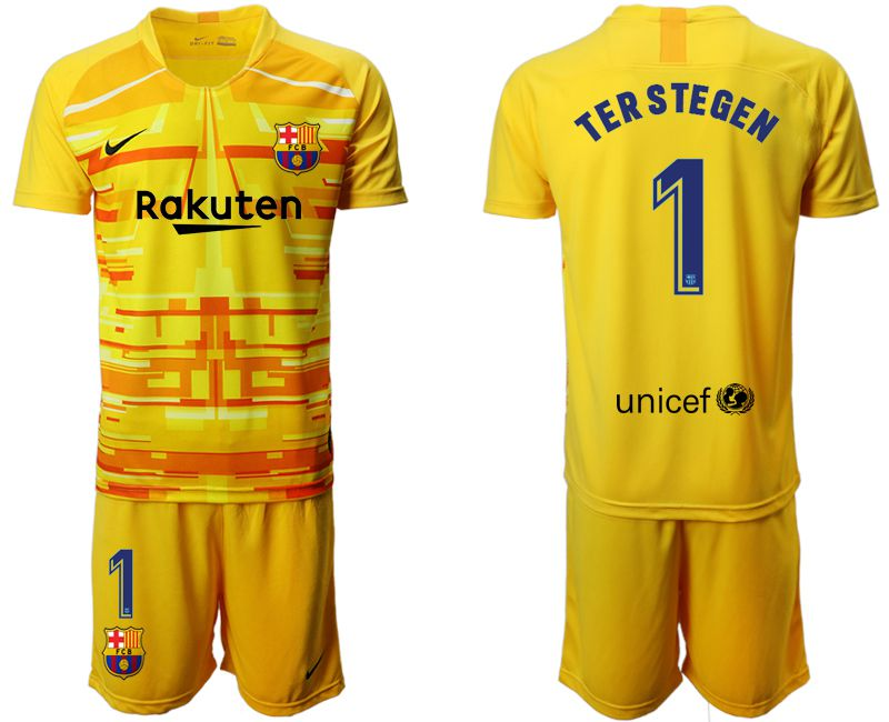 Men 2019-2020 club Barcelona yellow goalkeeper 1 Soccer Jerseys