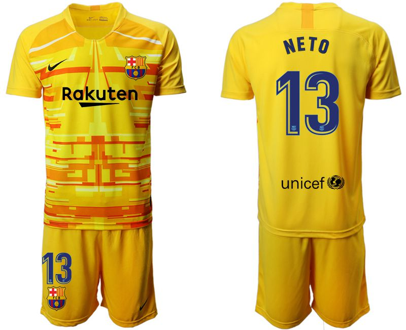Men 2019-2020 club Barcelona yellow goalkeeper 13 Soccer Jerseys