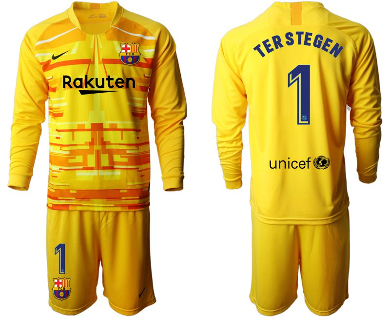 Men 2019-2020 club Barcelona yellow goalkeeper long sleeve 1 Soccer Jerseys