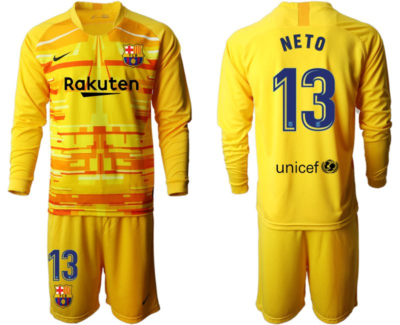 Men 2019-2020 club Barcelona yellow goalkeeper long sleeve 13 Soccer Jerseys