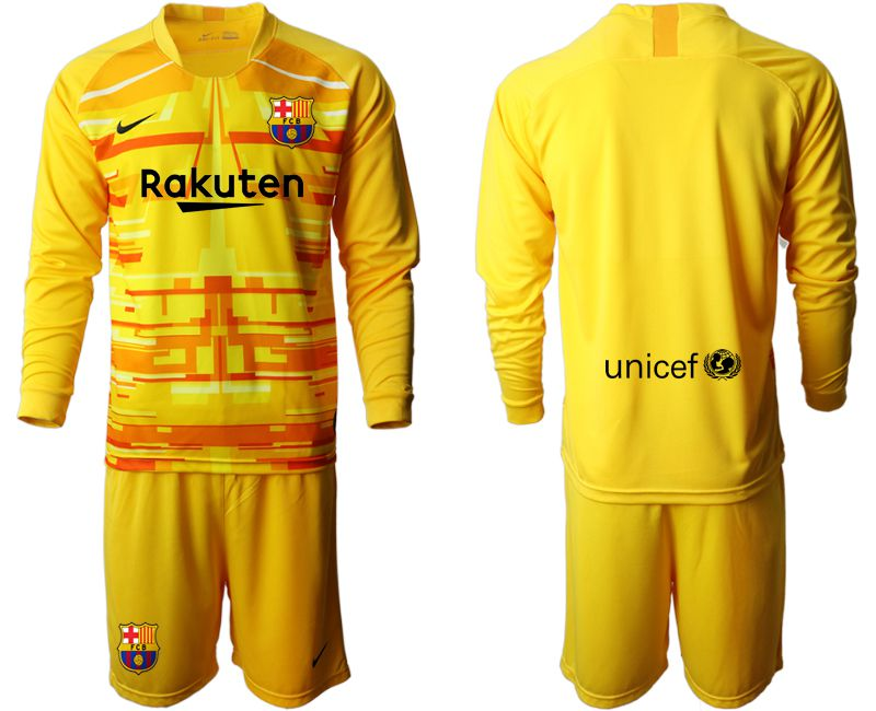 Men 2019-2020 club Barcelona yellow goalkeeper long sleeve Soccer Jerseys