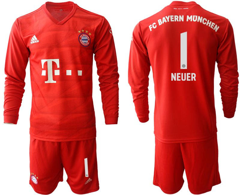 Men 2019-2020 club Bayern Munich home long sleeves 1 red Soccer Jerseys