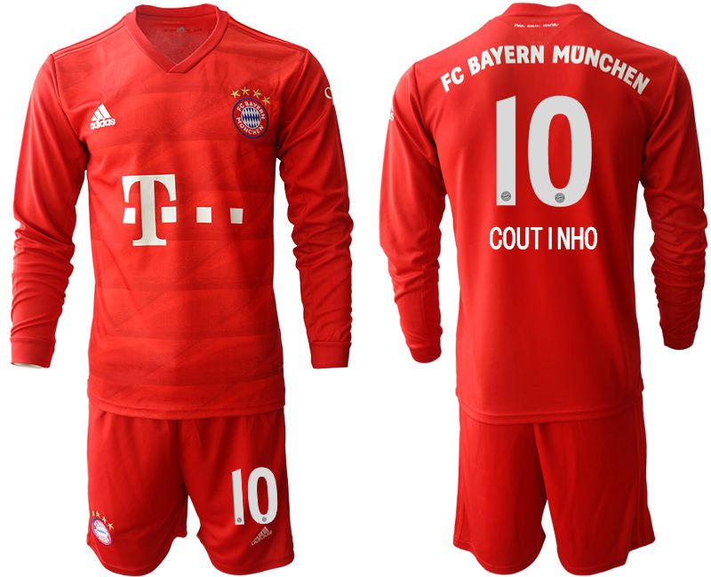 Men 2019-2020 club Bayern Munich home long sleeves 10 red Soccer Jerseys