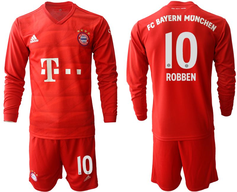 Men 2019-2020 club Bayern Munich home long sleeves 10 red Soccer Jerseys1