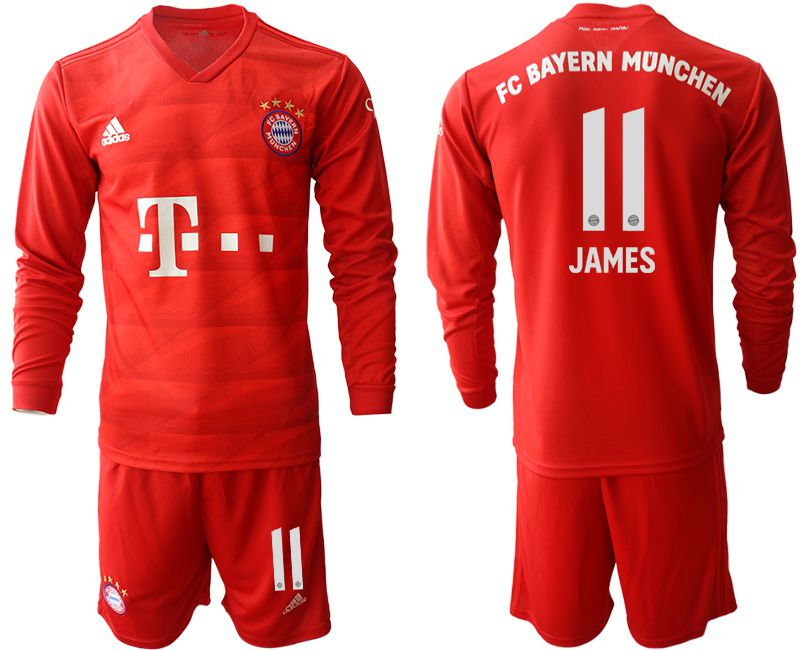 Men 2019-2020 club Bayern Munich home long sleeves 11 red Soccer Jerseys
