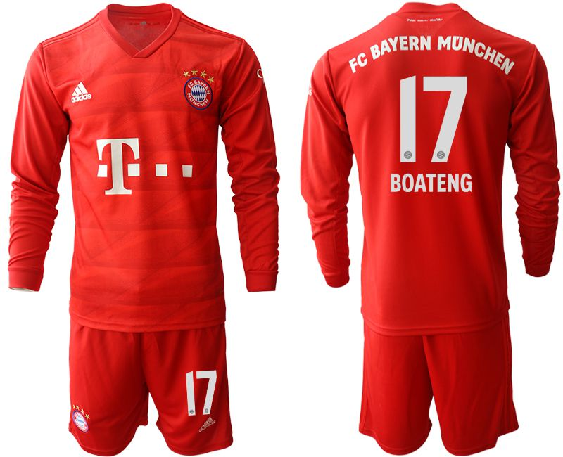 Men 2019-2020 club Bayern Munich home long sleeves 17 red Soccer Jerseys