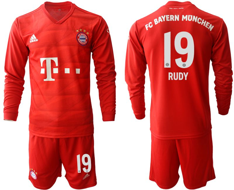 Men 2019-2020 club Bayern Munich home long sleeves 19 red Soccer Jerseys