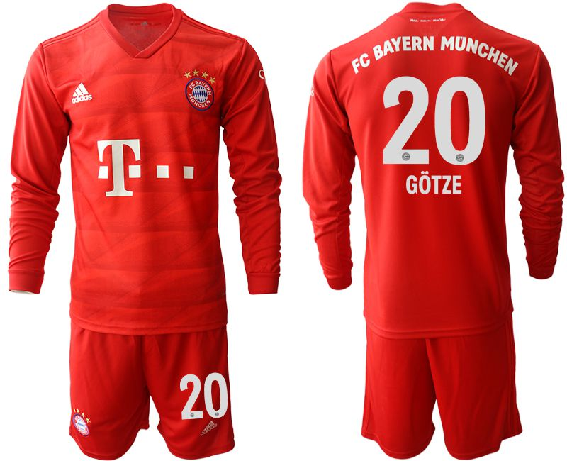 Men 2019-2020 club Bayern Munich home long sleeves 20 red Soccer Jerseys