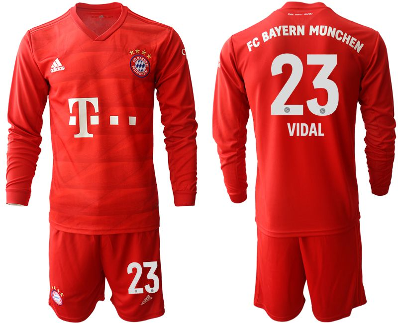 Men 2019-2020 club Bayern Munich home long sleeves 23 red Soccer Jerseys
