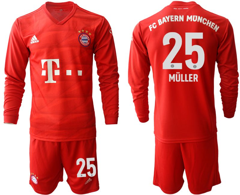 Men 2019-2020 club Bayern Munich home long sleeves 25 red Soccer Jerseys