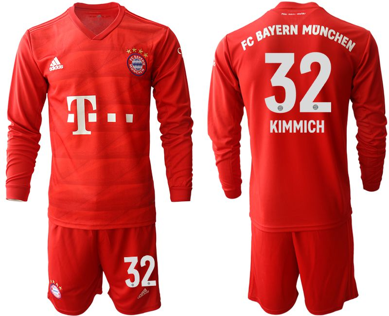 Men 2019-2020 club Bayern Munich home long sleeves 32 red Soccer Jerseys