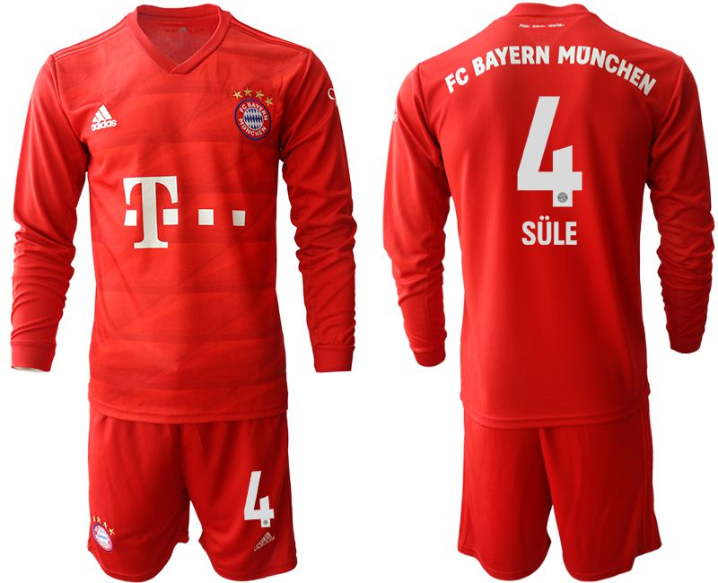 Men 2019-2020 club Bayern Munich home long sleeves 4 red Soccer Jerseys