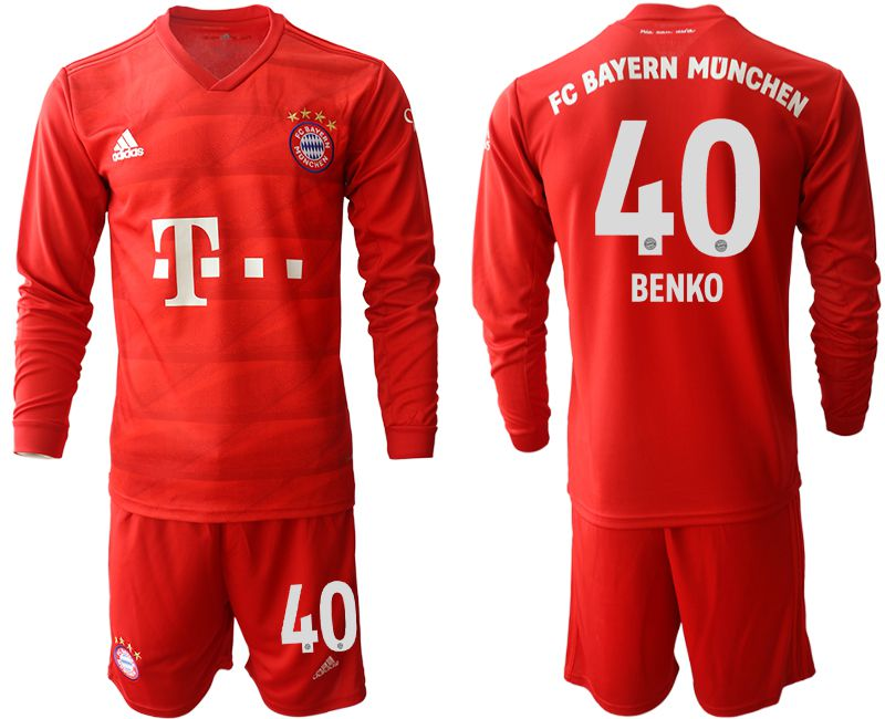 Men 2019-2020 club Bayern Munich home long sleeves 40 red Soccer Jerseys