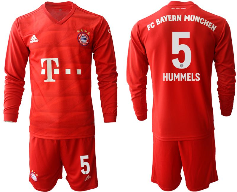 Men 2019-2020 club Bayern Munich home long sleeves 5 red Soccer Jerseys