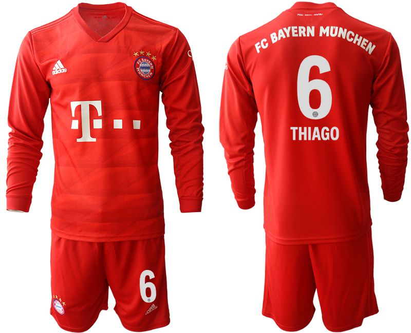 Men 2019-2020 club Bayern Munich home long sleeves 6 red Soccer Jerseys