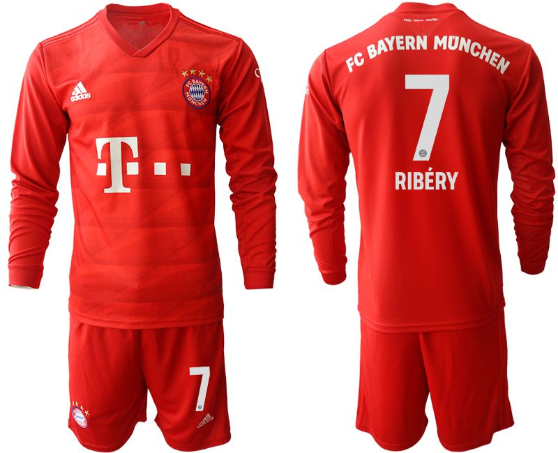 Men 2019-2020 club Bayern Munich home long sleeves 7 red Soccer Jerseys