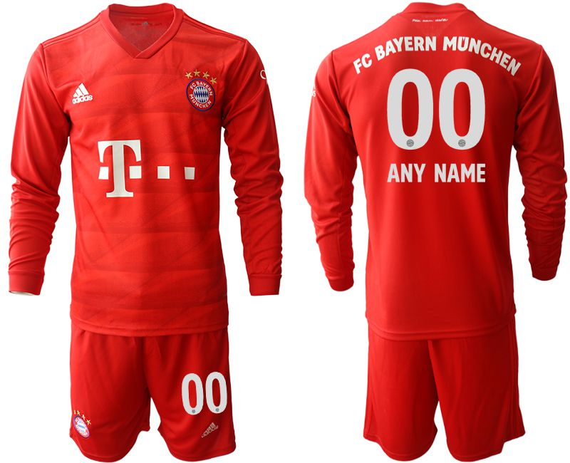 Men 2019-2020 club Bayern Munich home long sleeves customized red Soccer Jerseys