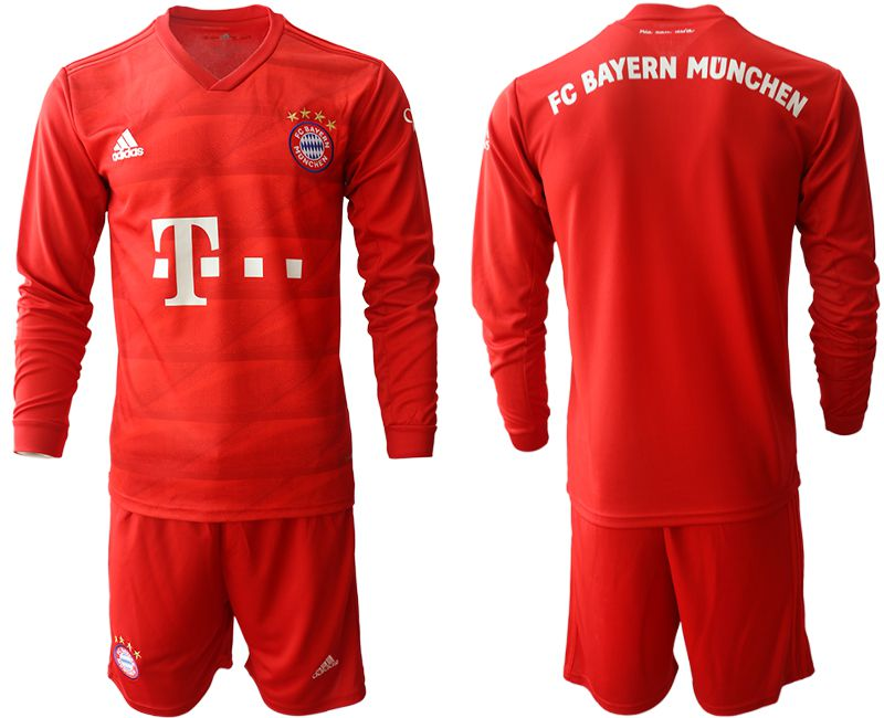 Men 2019-2020 club Bayern Munich home long sleeves red Soccer Jerseys