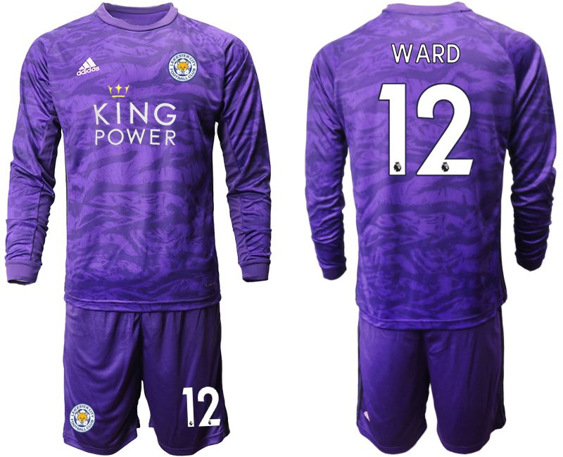 Men 2019-2020 club Leicester City purple long sleeved Goalkeeper 12 Soccer Jersey