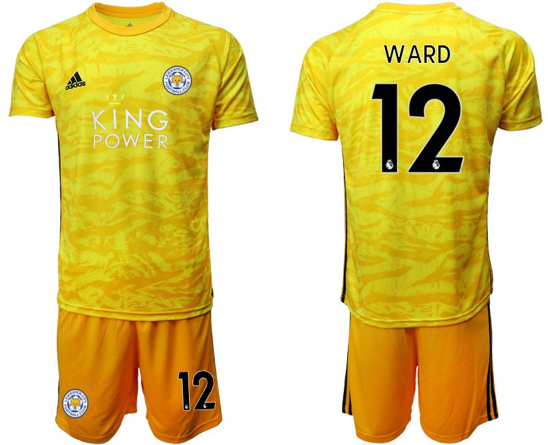 Men 2019-2020 club Leicester City yellow goalkeeper 12 Soccer Jerseys