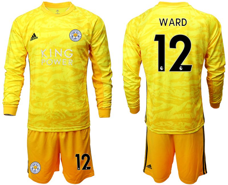 Men 2019-2020 club Leicester City yellow goalkeeper long sleeve 12 Soccer Jerseys