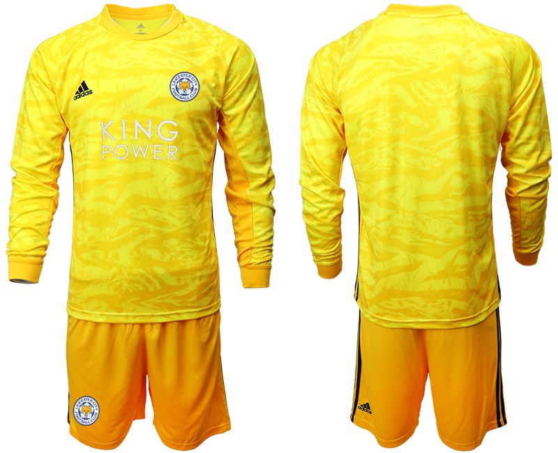Men 2019-2020 club Leicester City yellow goalkeeper long sleeve Soccer Jerseys