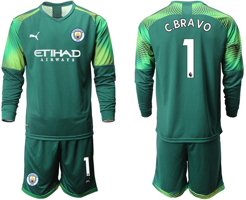 Men 2019-2020 club Manchester City Dark green long sleeve goalkeeper 1 Soccer Jerseys