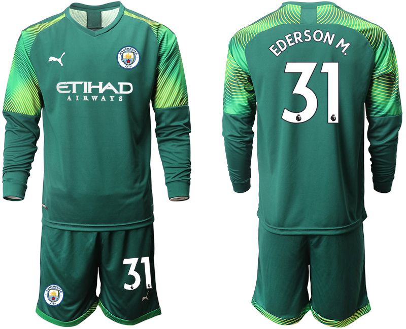 Men 2019-2020 club Manchester City Dark green long sleeve goalkeeper 31 Soccer Jerseys