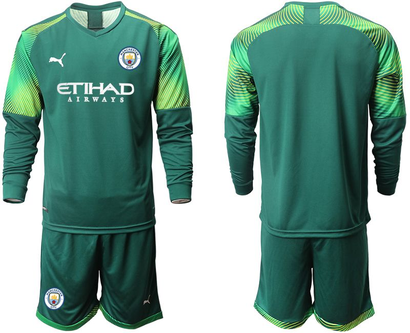 Men 2019-2020 club Manchester City Dark green long sleeve goalkeeper Soccer Jerseys