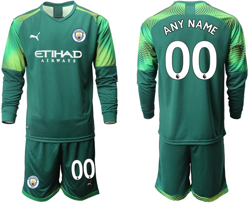 Men 2019-2020 club Manchester City Dark green long sleeve goalkeeper customized Soccer Jerseys