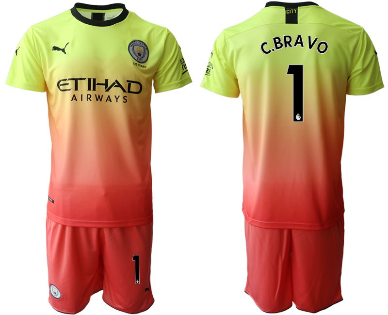 Men 2019-2020 club Manchester City away 1 yellow Soccer Jerseys