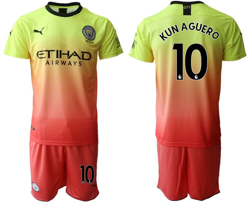 Men 2019-2020 club Manchester City away 10 yellow Soccer Jerseys