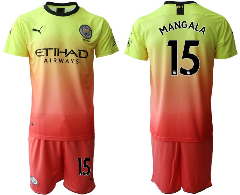 Men 2019-2020 club Manchester City away 15 yellow Soccer Jerseys